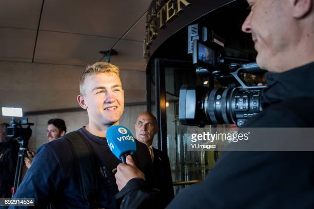 Matthijs de Ligt arrives at Hotel Huis ter Duinduring a press conference prior to the FIFA World Cup 2018 qualifying match between The Netherlands...