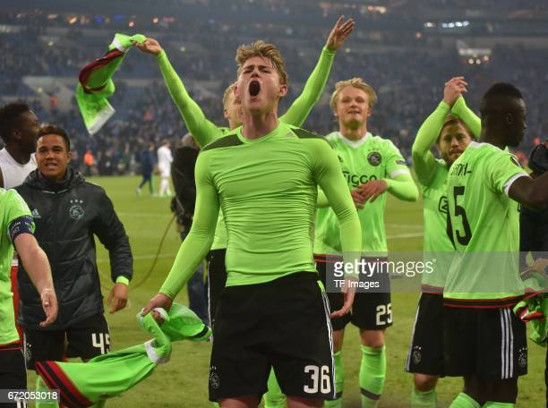 Matthijs de Ligt of Ajax Amsterdam celebrate losing 23 but qualified for the semi final match after the UEFA Europa League quarter final second leg...