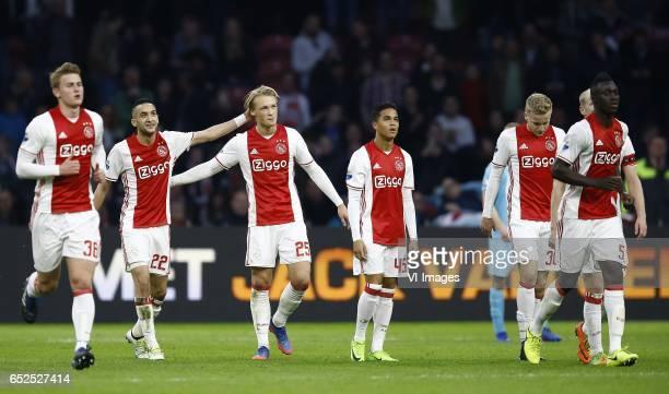 Matthijs de Ligt of Ajax Amsterdam Hakim Ziyech of Ajax Amsterdam Kasper Dolberg of Ajax Amsterdam scored Justin kluivert of Ajax Amsterdam Donny van...