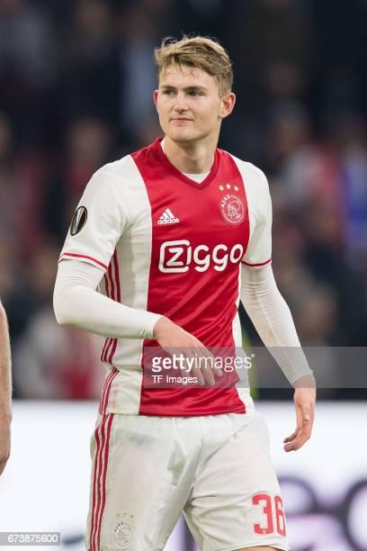 Matthijs de Ligt of Ajax Amsterdam looks on during the UEFA Europa League Quarter Final first leg match between Ajax Amsterdam and FC Schalke 04 at...
