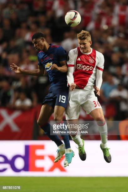 Matthijs de Ligt of Ajax competes with Marcus Rashford of Manchester United during the UEFA Europa League Final between Ajax and Manchester United at...