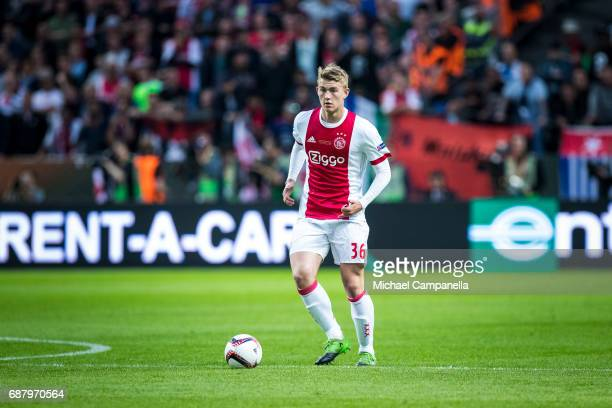 Matthijs de Ligt of Ajax during the UEFA Europa League final between Ajax and Manchester United at Friends Arena on May 24 2017 in Stockholm Sweden