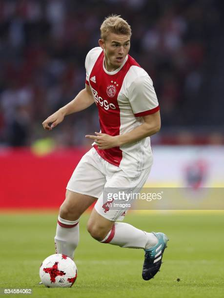 Matthijs de Ligt of Ajax during the UEFA Europa League fourth round qualifying first leg match between Ajax Amsterdam and RosenBorg BK at the...
