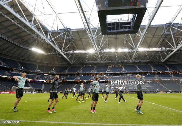 Matthijs de Ligt of Ajax Frenkie de Jong of Ajax Lasse Schone of Ajax Davy Klaassen of Ajaxduring a training session prior to the UEFA Europa League...