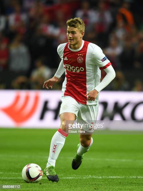 Matthijs de Ligt of Ajax in action during the UEFA Europa League final match between Ajax and Manchester United at Friends Arena on May 24 2017 in...