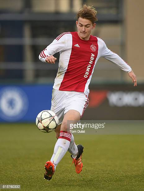 Matthijs de Ligt of Ajax in action during the UEFA Youth League quarter final match between Chelsea and Ajax at Chelsea Training Ground on March 15...