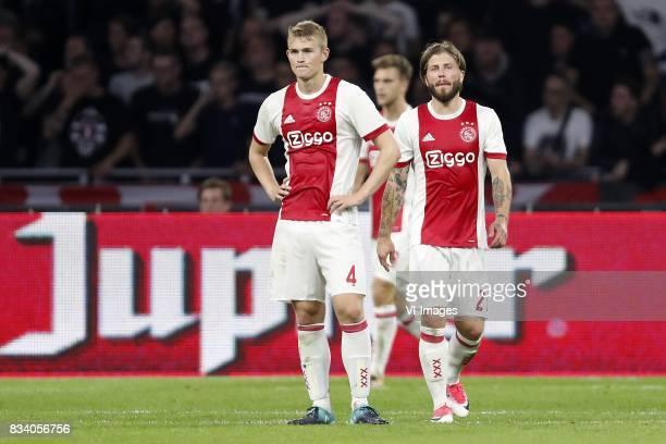 Matthijs de Ligt of Ajax Joel Veltman of Ajax Lasse Schone of Ajax during the UEFA Europa League fourth round qualifying first leg match between Ajax...