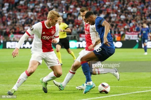 Matthijs de Ligt of Ajax Joel Veltman of Ajax Marcus Rashford of Manchester Unitedduring the UEFA Europa League final match between Ajax Amsterdam...