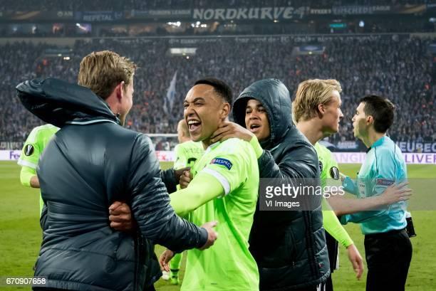 Matthijs de Ligt of Ajax Kenny Tete of Ajax Justin Kluivert of Ajax Kasper Dolberg of Ajaxduring the UEFA Europa League quarter final match between...
