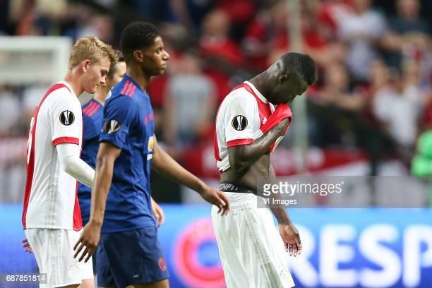 Matthijs de Ligt of Ajax Marcus Rashford of Manchester United Davinson Sanchez of Ajaxduring the UEFA Europa League final match between Ajax...