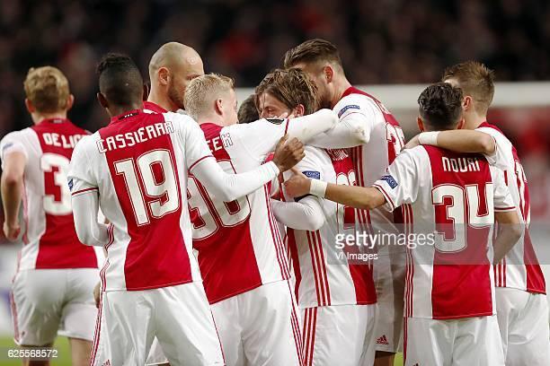 Matthijs de Ligt of Ajax Mateo Cassierra of Ajax Heiko Westermann of Ajax Donny van de Beek of Ajax Lasse Schone of Ajax Mitchell Dijks of Ajax...
