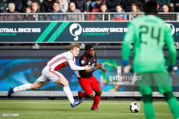 Matthijs de Ligt of Ajax Nigel Hasselbaink of Excelsior goalkeeper Andre Onana of Ajaxduring the Dutch Eredivisie match between sbv Excelsior...