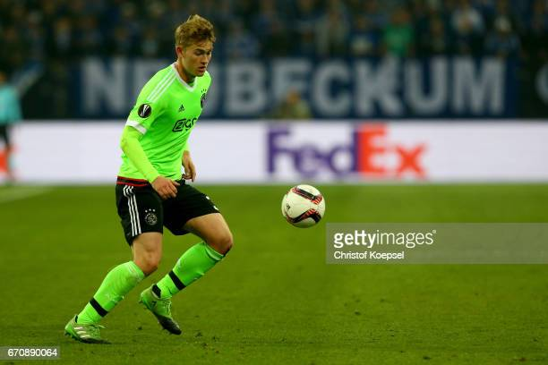 Matthijs de Ligt of Amsterdam runs with the ball during the UEFA Europa League quarter final second leg match between FC Schalke 04 and Ajax...