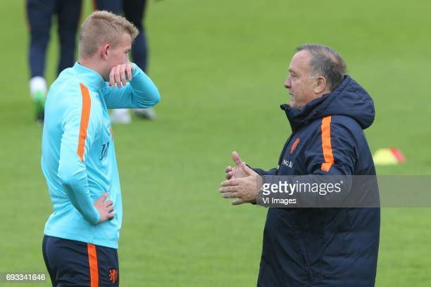 Matthijs de Ligt of Holland assistant trainer Ruud Gullit of Hollandduring a training session prior to the FIFA World Cup 2018 qualifying match...