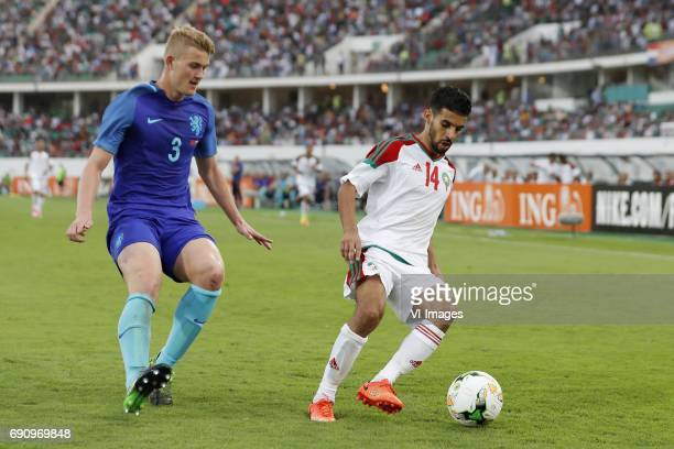 Matthijs de Ligt of Holland Mbark Boussoufa of Moroccoduring the friendly match between Morocco and The Netherlands at Grand Stade Adrar on May 31...