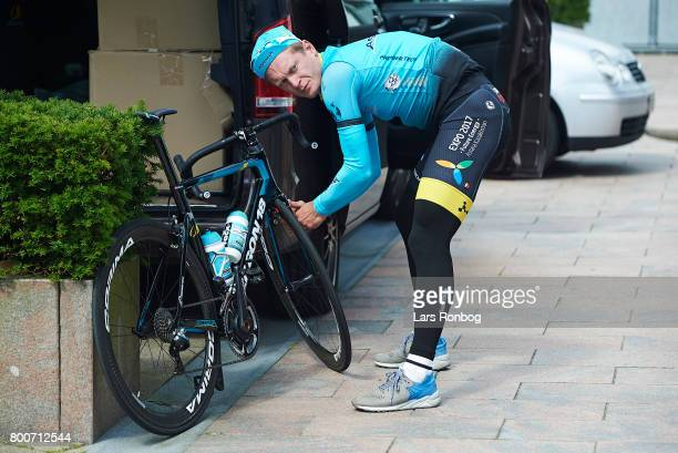 Matti Breschel of Astana Pro Cycling prepares hos bike prior to the Elite Mens Road Race in the Danish Road Cycling Championships on June 25 2017 in...