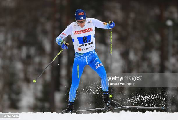 Matti Heikkinen of Finland competes in the Men's 4x10km Cross Country Relay during the FIS Nordic World Ski Championships on March 3 2017 in Lahti...