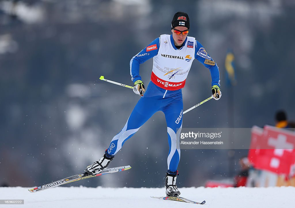 Matti Heikkinen of Finland in action during the Men's Cross Country Individual 15km at the FIS Nordic World Ski Championships on February 27, 2013 in Val di Fiemme, Italy.