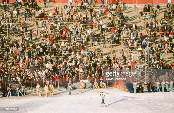 Matti Nykanen of Finland competes in the Large Hill event of the Ski Jumping Competition of the Winter Olympic Games on February 23 1988 at Calgary...