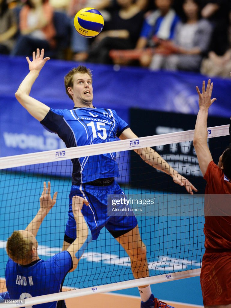 Matti Oivanen of Finland spikes the ball during the FIVB World League Pool C match between Japan and Finland at Park Arena Komaki on June 15, 2013 in Komaki, Japan.