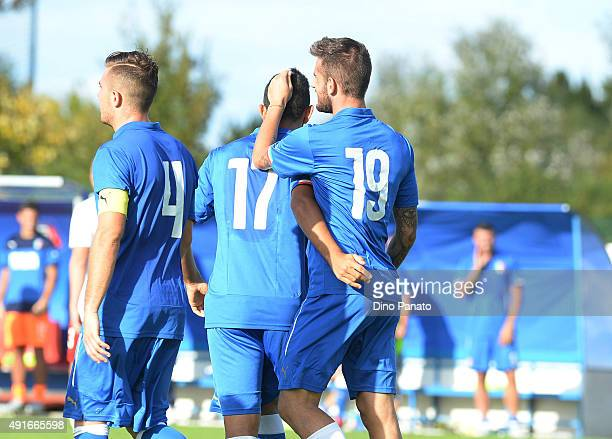 Mattia Aramu of of Italy U20 celebrates after scoring his team's second goal from the penalty spot during the match between the Italy U20 v Poland...