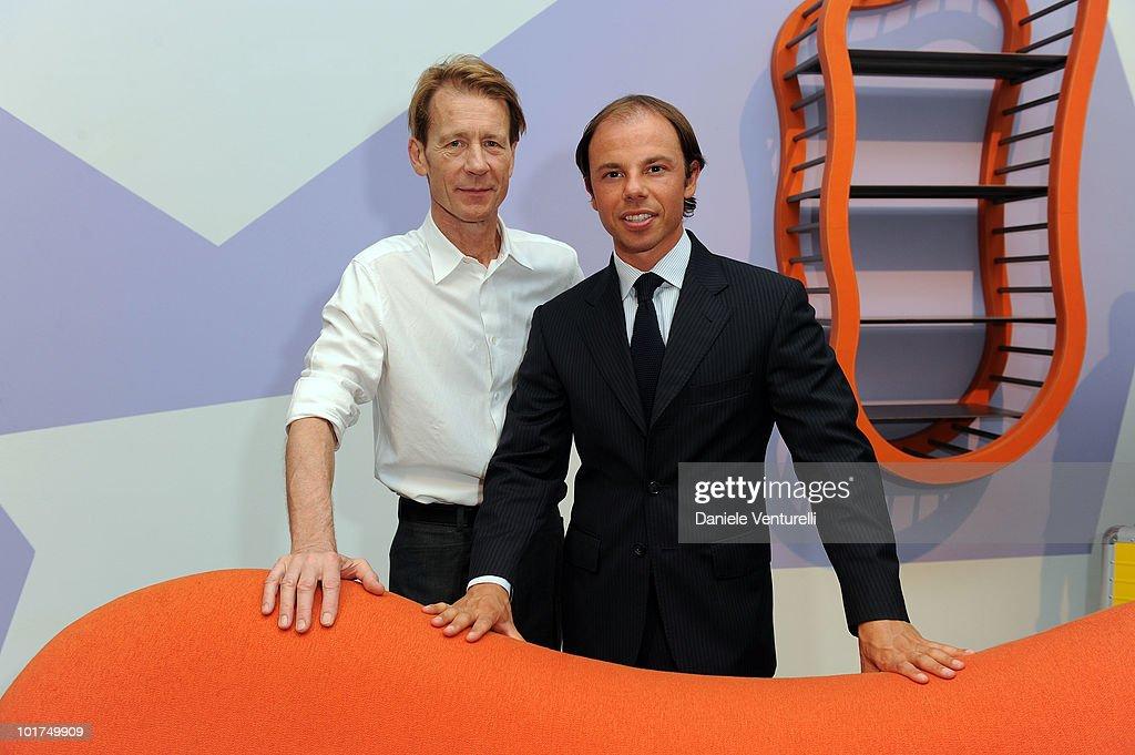Mattia Bonetti and Nicolo Cardi attend the Mattia Bonetti's preview at the Cardi Black Box Gallery on June 7 2010 in Milan Italy