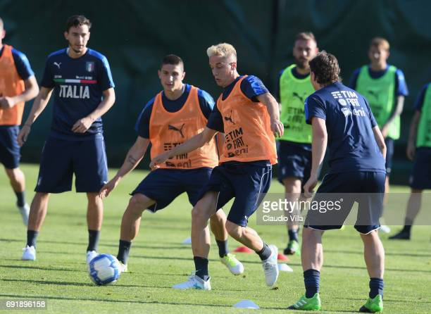 Mattia Caldara and Andrea Conti of Italy in action during the training session at Coverciano at Coverciano on June 03 2017 in Florence Italy