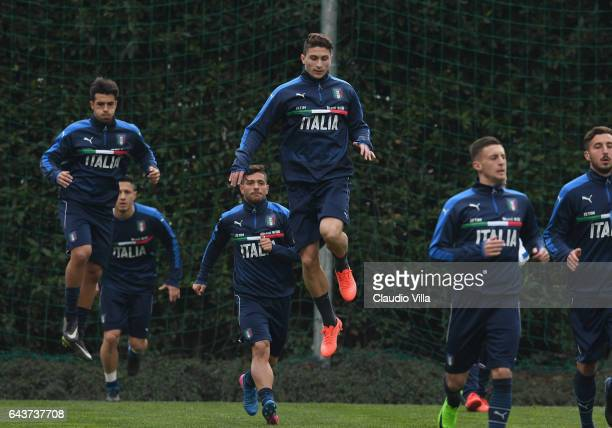Mattia Caldara in action during the training session at the club's training ground at Coverciano on February 22 2017 in Florence Italy