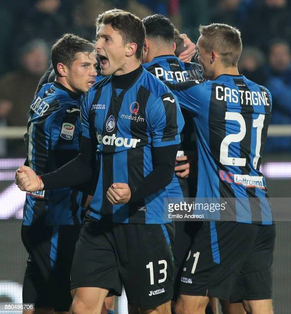 Mattia Caldara of Atalanta BC celebrates after his teammate Bryan Cristante scored during the Serie A match between Atalanta BC and Benevento Calcio...