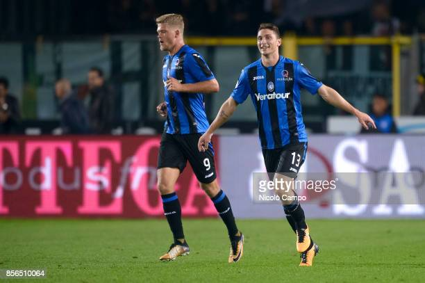Mattia Caldara of Atalanta BC celebrates after scoring a goal during the Serie A football match between Atalanta BC and Juventus FC The match end in...