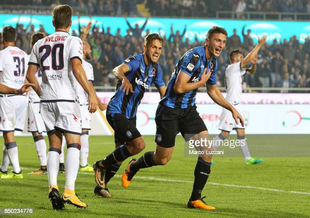 Mattia Caldara of Atalanta BC celebrates his goal during the Serie A match between Atalanta BC and FC Crotone at Stadio Atleti Azzurri d'Italia on...