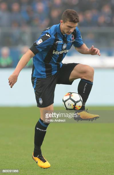 Mattia Caldara of Atalanta BC controls the ball during the Serie A match between Atalanta BC and Bologna FC at Stadio Atleti Azzurri d'Italia on...