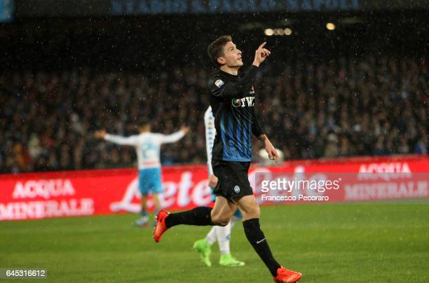 Mattia caldara of Atalanta celebrates after scoring goal 10 during the Serie A match between SSC Napoli and Atalanta BC at Stadio San Paolo on...
