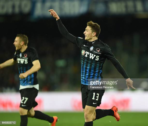 Mattia Caldara of Atalanta celebrates after scoring goal 20 during the Serie A match between SSC Napoli and Atalanta BC at Stadio San Paolo on...
