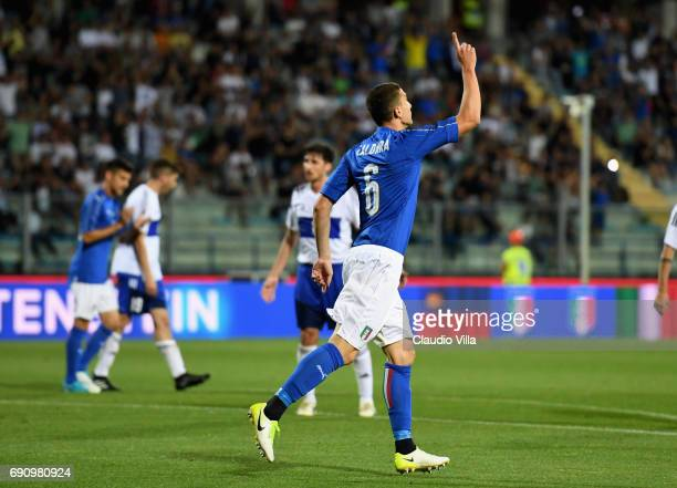 Mattia Caldara of Italy celebrates after scoring the fifth goal during the international friendy match played between Italy and San Marino at Stadio...