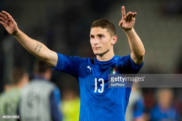 Mattia Caldara of Italy celebrates during the UEFA European Under21 Championship 2017 Group C match between Italy and Germany at Krakow Stadium in...