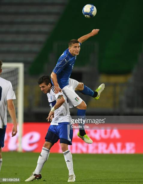 Mattia Caldara of Italy in action during the international friendy match played between Italy and San Marino at Stadio Carlo Castellani on May 31...