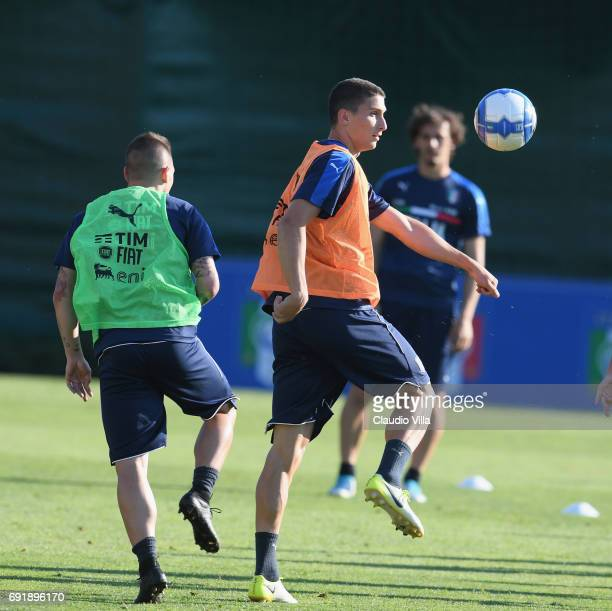 Mattia Caldara of Italy in action during the training session at Coverciano at Coverciano on June 03 2017 in Florence Italy