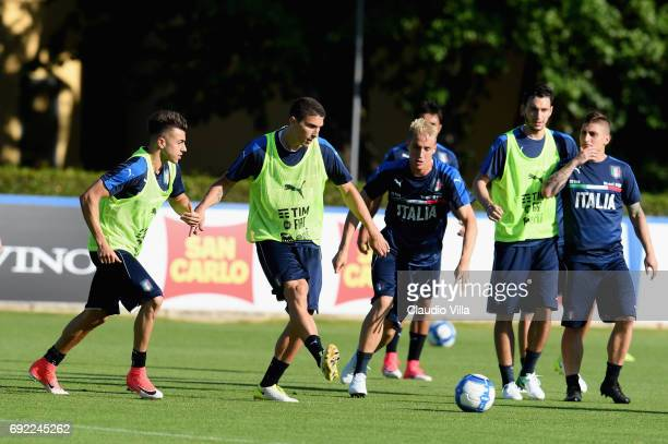 Mattia Caldara of Italy in action during the training session at Coverciano at Coverciano on June 04 2017 in Florence Italy