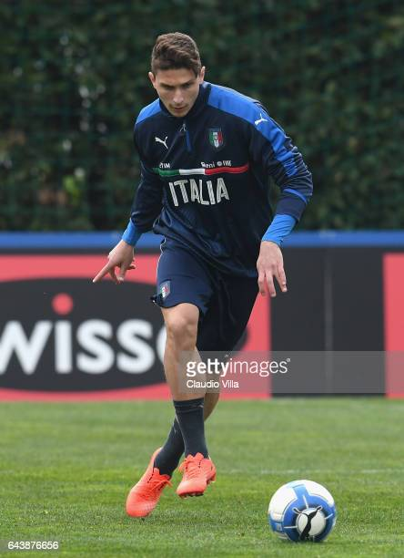 Mattia Caldara of Italy in action during the training session at the club's training ground at Coverciano on February 22 2017 in Florence Italy