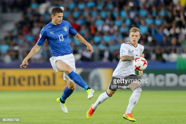 Mattia Caldara of Italy in action during the UEFA U21 championship match between Italy and Germany at Krakow Stadium on June 24 2017 in Krakow Poland