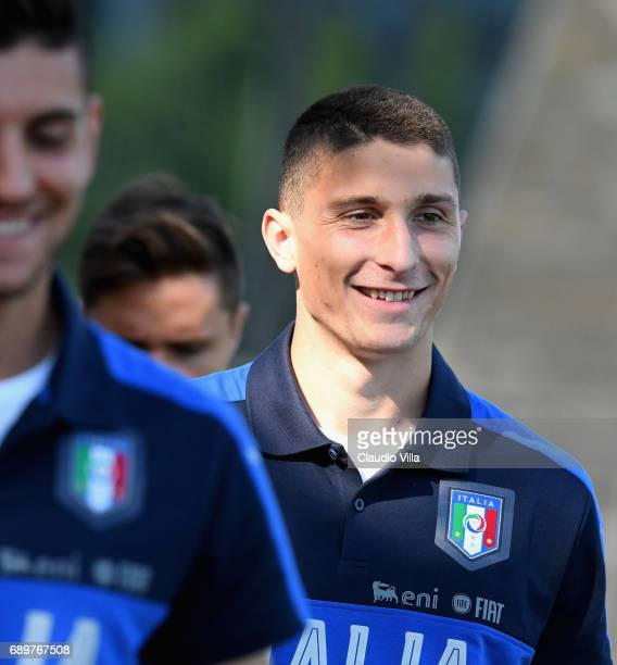 Mattia Caldara of Italy looks on during the atraining session at Coverciano at Coverciano on May 29 2017 in Florence Italy