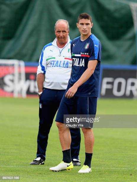 Mattia Caldara of Italy looks on during the training session at Coverciano at Coverciano on June 05 2017 in Florence Italy