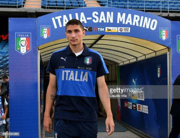 Mattia Caldara of Italy looks on prior to the international friendy match played between Italy and San Marino at Stadio Carlo Castellani on May 31...