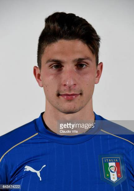 Mattia Caldara of Italy poses during the official portrait session at Coverciano on February 21 2017 in Florence Italy