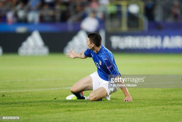 Mattia Caldara of Italy reacts during the UEFA U21 championship match between Italy and Germany at Krakow Stadium on June 24 2017 in Krakow Poland