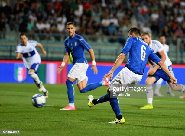 Mattia Caldara of Italy scores the fifth goal during the international friendy match played between Italy and San Marino at Stadio Carlo Castellani...