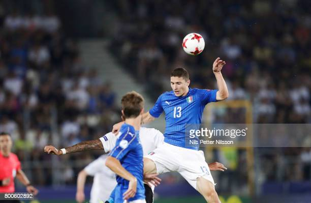 Mattia Caldara of Italy shoots a header during the UEFA U21 championship match between Italy and Germany at Krakow Stadium on June 24 2017 in Krakow...