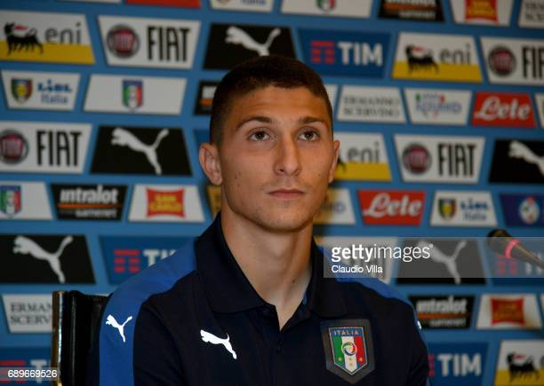 Mattia Caldara of Italy speaks with the media during the press conference at Coverciano at Coverciano on May 29 2017 in Florence Italy
