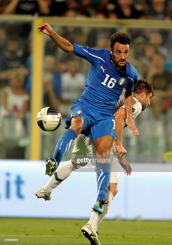 Mattia Cassani of Italy battles for the ball during the EURO 2012 Qualifier match between Italy and Slovenia at Stadio Artemio Franchi on September 6, 2011 in Florence, Italy.